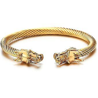 Elastic Adjustable Mens Dragon Bracelet Steel Twisted Cable Bangle Cuff Bracelet Polished(GROUP2)