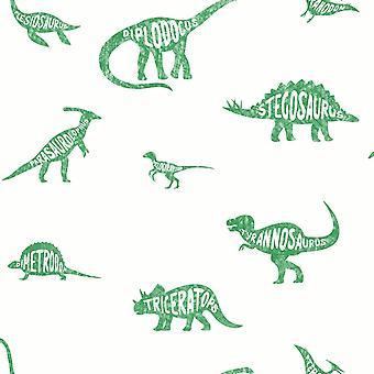 Holden Decor Over the Rainbow Dino Dictionary Green Wallpaper 90902