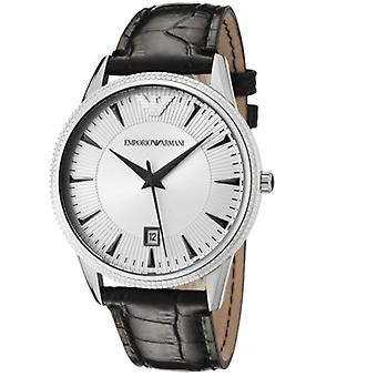 Emporio Armani AR2442 Stainless Steel Silver Dial Black Leather Strap Men's Watch