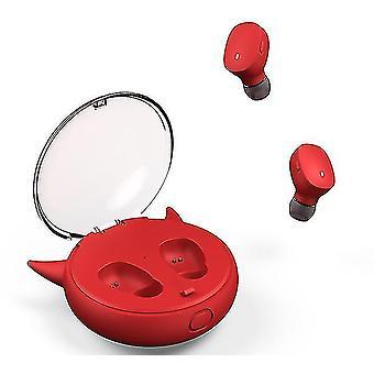 Căști sport mini stereo Tws Bluetooth 5.0 (cu compartiment de încărcare) (roșu)