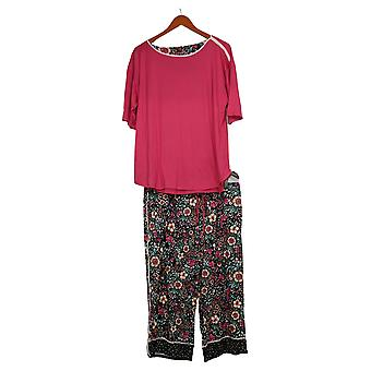Cuddl Duds Women's Petite Cool & Airy Print Cropped Pajama Set Pink A373982