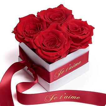 Rosen Box Wei� ewige Rosen haltbar 3 Jahre Rot Je t'aime Geschenk