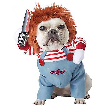 Hywell Halloween Pet Dog Costumes Deadly Doll Chucky Clothes Christmas Party Funny Suit With Cap