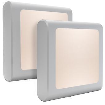 2 kleine Nachtlichter mit Dämmerungssensor, stufenlos einstellbare Helligkeit, sehr geeignet für Kinderzimmer, Treppen, Schlafzimmer, Küchenrichtung