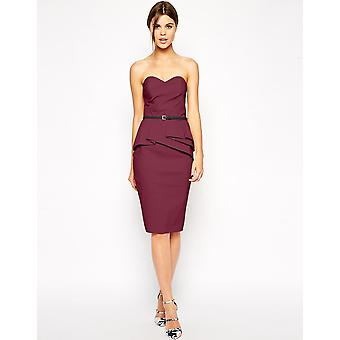 ASOS Belted Bandeau Pencil Dress UK 10