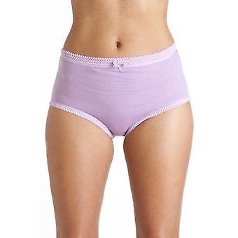 Camille Womens Damen 3 Paare 100 % Baumwolle lila Mix voller Komfort Slips