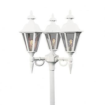 Konstsmide Pallas White Driveway 3 Lantern Outdoor Pole Light