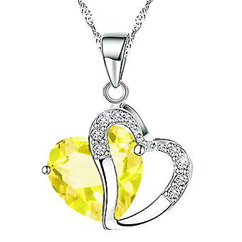 Boolavard® TM Fashion Osterreic Czech Crystal Heart Shape Pendant Necklace + Gift Box yellow  …
