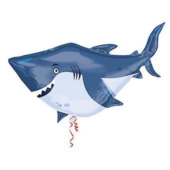 Airwalker jätte ballong haj fisk 101 x 81 cm folie ballong karaktär, ballong
