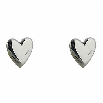 Silver 8x8mm plain heart shaped stud Earrings