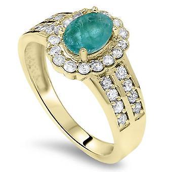 1 3 / 8ct Emerald & Diamond Ring 14K Yellow Gold