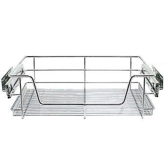 2 Pull Out Kitchen Wire Baskets Storage Cupboard Chrome Drawer Larder 60cm Unit