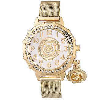 Chic fleur or jaune montres luxe pierres élégant temps maille or Bracelet