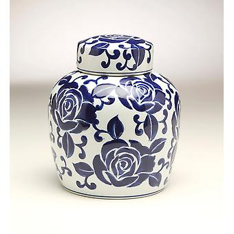 AA Importing 59952 9 Inch Blue & White Ginger Jar