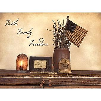 Faith Family Freedom Poster Print by Susie Boyer (16 x 12)