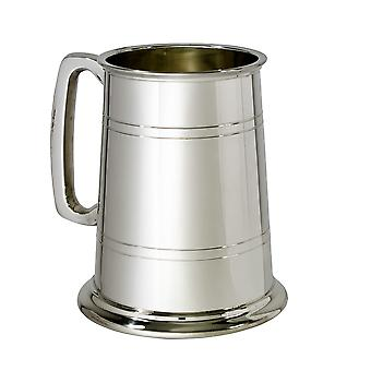 Double Lined Glass Base 1 Pint Pewter Tankard