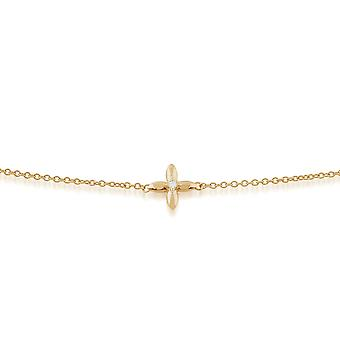 Floral Round Diamond Golden Flower Single Stone Bracelet in 9ct Yellow Gold 191L0151019