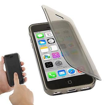 Handyhülle Flip Quer für Handy iPhone 5c grau