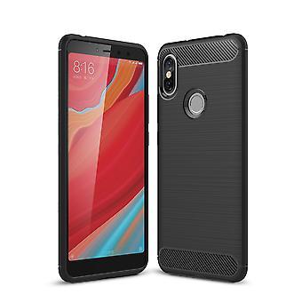 Xiaomi Redmi S2 / Y2 täcka silikon svart carbon look fall TPU telefon fallet stötfångare
