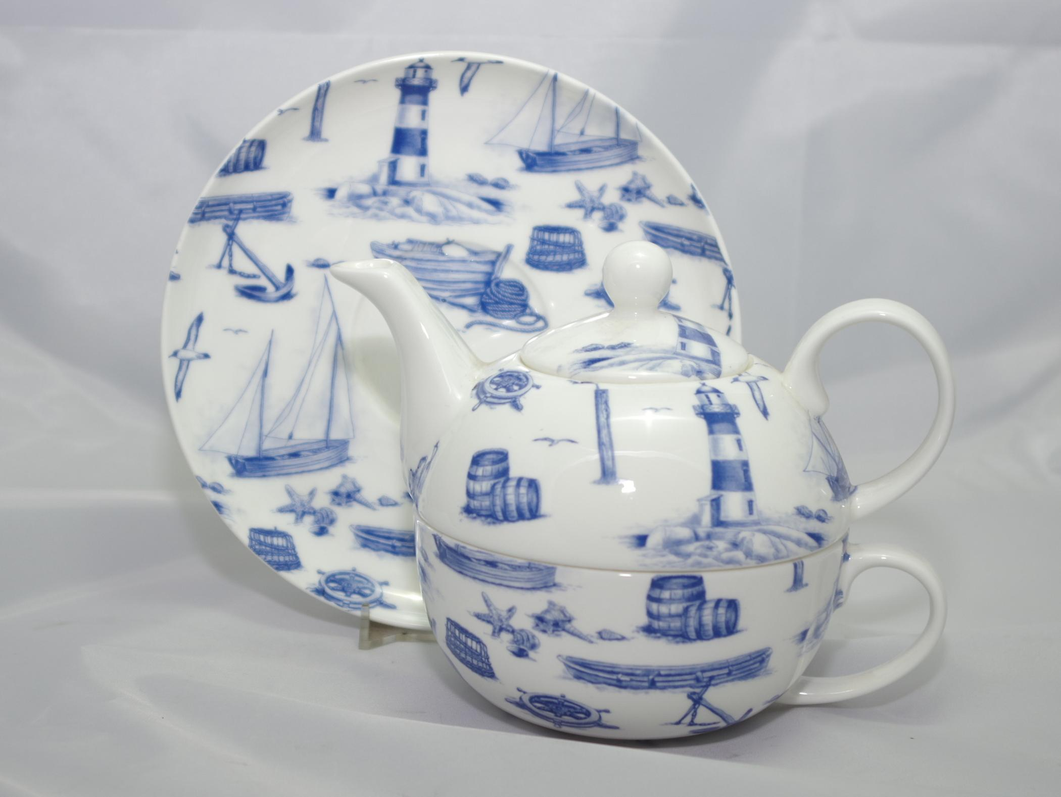 English Bone China Tea for One Sailing Away