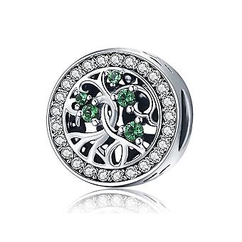 Sterling silver charm Tree of life with green zirconia