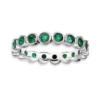 925 sterling sølv bezel polert mønstret rhodium belagt stables uttrykk opprettet emerald ring smykker gaver til