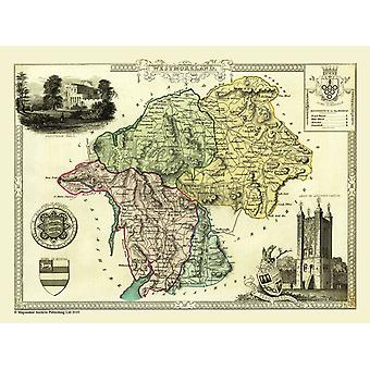 Gammal karta av Westmorland 1836 av Thomas Moule 1000 bit pussel (jhg)