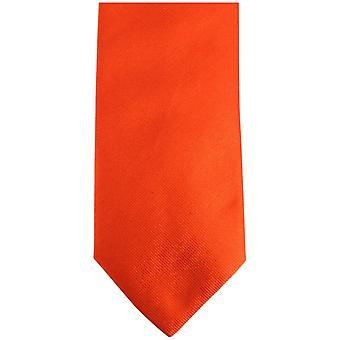 Bassin and Brown Plain Silk Tie - Orange/Black