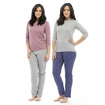 2 Pack Ladies Tom Franks Star Print Polycotton Long Pyjama Lounge Wear Sleepwear