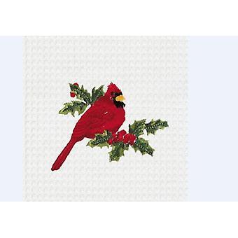 Toalha de cozinha de algodão vermelho Cardeal observador de aves de quintal