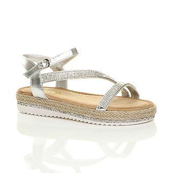 Ajvani womens låg wedge plattform diamante strappy sandaler flatform espadrillos