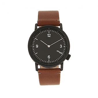 Simplificar el reloj correa de cuero de 5500 - negro/marrón