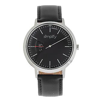 Simplify The 6500 Leather-Band Watch - Black