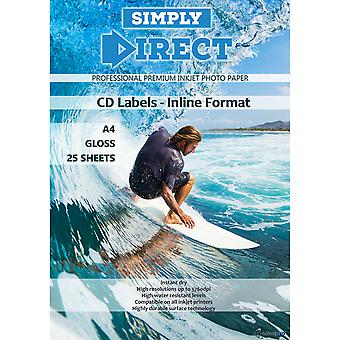 25 x Simply Direct A4 Gloss Inline CD / DVD / Blu-ray Disk Label, 2 Labels Per Sheet - 130gsm - Professional Premium Inkjet Paper