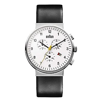 Braun Mens quartz Chronograph Watch with leather strap BN0035WHBKG