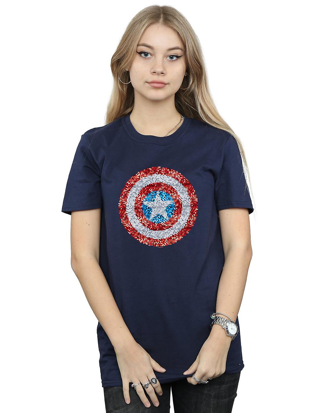 Marvel Women's Captain America Pixelated Shield Boyfriend Fit T-Shirt