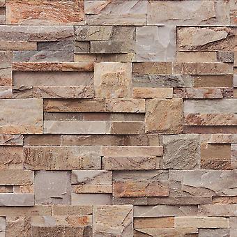 Muriva marrón ladrillo piedra pizarra Natural 3D textura papel pintado lavable vinilo
