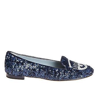 Chiara Ferragni Cf1218 Femmes-apos;s Blue Sequins Flats