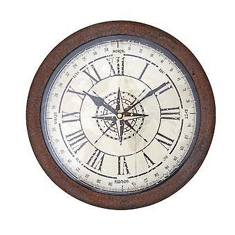 Ретро коричневый ржавчины металлокаркаса Компас Роуз настенные часы