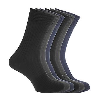 FLOSO Mens Ribbed 100% Cotton Socks (6 Pairs)