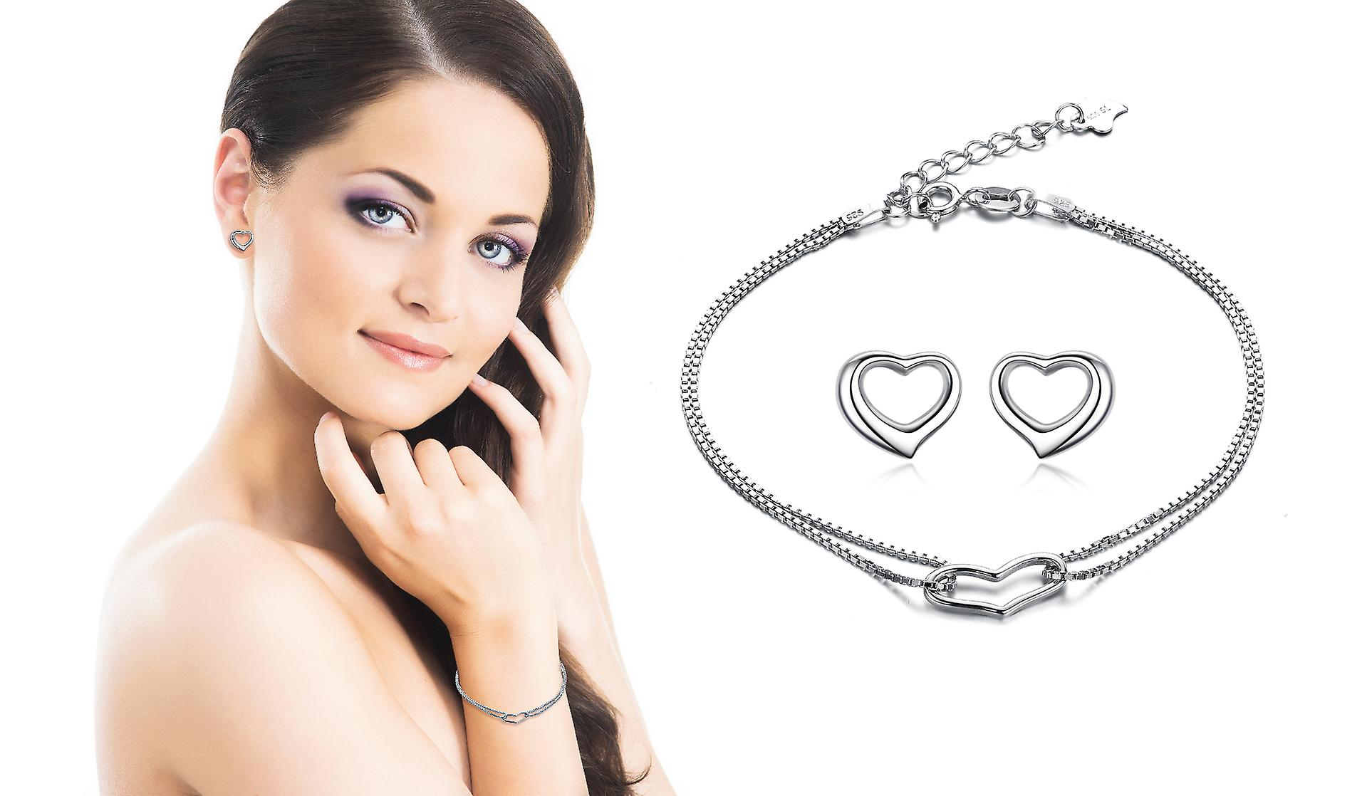 925 Sterling Silver Jewellery Hollow Heart Bracelet And Studs