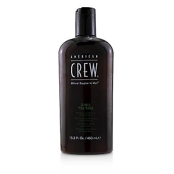 American Crew Men 3-in-1 Tea Tree Shampoo Conditioner And Body Wash - 450ml/15.2oz