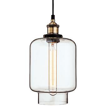Erstlicht-1 Light Ceiling Pendant Antique Brass, Clear Glass-3474AB