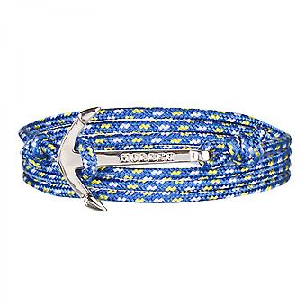 Rope Mosley sølv polert Anchor/blå, gul og hvit Paracord armbånd HLB-01SRP-P17