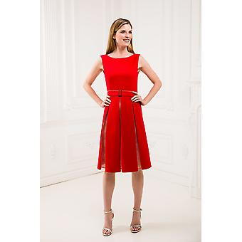 Red pleat dress