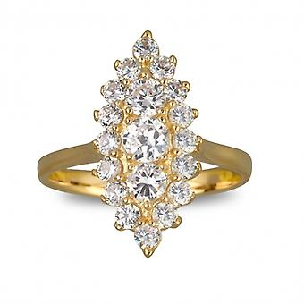 Marquise Gold Plated Ring With Zirconia Cubic