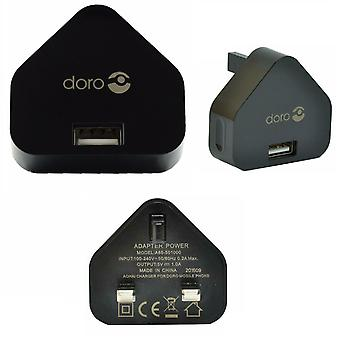 Official Doro UK 3 Pin Mains Adapter Charger Plug - Black - A85-501000