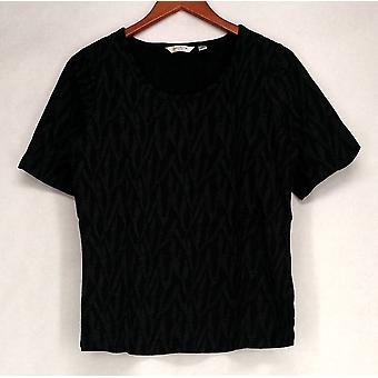 Liz Claiborne York Printed Short Sleeve Tee Black Top A215242