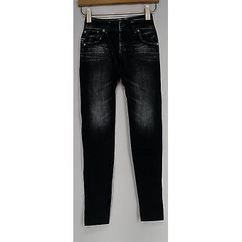 Slim 'N Lift Leggings Caresse Print Knit Ankle Length Pull-On Black c415986
