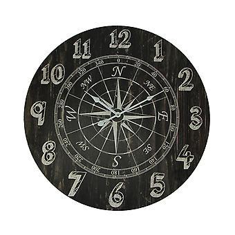 Horloge en détresse de mur rond de boussole de bois noir